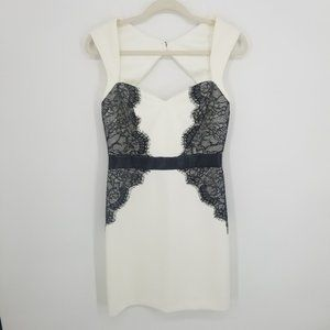 Guess Lace and Faux Leather Sheath Dress